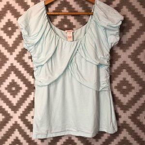 Sundance Mint Light Blue Jersey Drape Blouse Top
